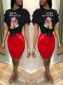 """Black """"WITH OR WITH OTU BAE"""" US Dollar Print Cascading Ruffle Knot Casual T-Shirt"""
