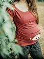 Light Red Floral Baby Print Round Neck Short Sleeve Casual Pregnant Woman T-Shirt