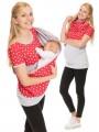 Light Grey Red Polka Dot Irregular Short Sleeve Oversized Maternity T-Shirt