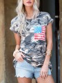 Green Camouflage Print Short Sleeve Fashion T-Shirt