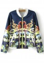 Navy Blue Floral Print Pockets Trench Coat