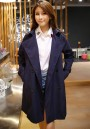 Blue Plain Double Breasted Trench Coat