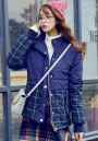 Blue Plaid Patchwork Zipper Padded Coat