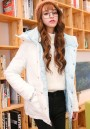 Light Blue-White Plain Pockets Hooded Padded Coat