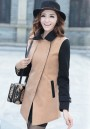 Camel Notch Lapel Long Sleeve Wrap Wool Coat