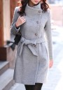 Grey Plain Studded Belt Band Collar Single Breasted Elegant Coat