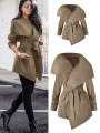 Khaki Pockets Sashes Turndown Collar Long Sleeve Fashion Trench Coat