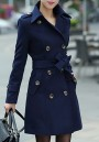 Navy Blue Buttons Pockets Sashes Turndown Collar Long Sleeve Wool Coat