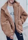 Camel Pockets Turndown Collar V-neck Long Sleeve Cardigan Coat