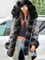 Grey Camouflage Pockets Hooded Fur Collar Long Sleeve Coat