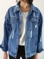Blue Single Breasted Buttons Turndown Collar Casual Going out Cardigan Coat