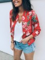 Red Floral Print Zipper Long Sleeve Fashion Cardigan Coat