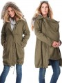 Army Green Pockets Zipper Drawstring Casual Multiway Maternity Outerwear