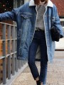 Blue Patchwork Pockets Buttons Turndown Collar Casual Jeans Outerwear