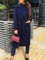 Navy Blue Pockets Sashes Turndown Collar Long Sleeve Going out Wool Coat