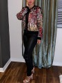 Multicolor Patchwork Sequin Zipper Long Sleeve Casual Outerwear