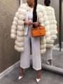 White Striped Faux Fur Long Sleeve Casual Cardigan Coat
