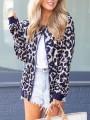 Blue Leopard Zipper Collarless Fashion Outerwear