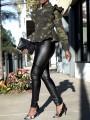 Green Camouflage Ruffle Zipper Peplum Long Sleeve Casual Outerwear