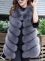 Dark Grey Fur Round Neck Sleeveless Elegant Coat