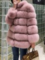 Pink Patchwork Faux Fur Band Collar Fashion Outerwear