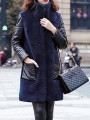 Navy Blue Patchwork Faux Fur Pockets Buttons Band Collar Fashion Outerwear