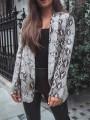 Grey Floral Snakeskin Pattern Print Pockets Tailored Collar Long Sleeve Fashion Coat