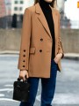 Camel Pockets Buttons Double Breasted Tailored Collar Long Sleeve Elegant Coat