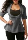 Grey Tie Back Turndown Collar Fashion Suit