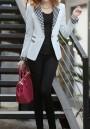 White Plaid Pockets Buttons Lapelless Long Sleeve Fashion Blazer