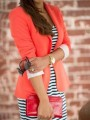 Watermelon Red Buttons Tailored Collar Fashion Blazer