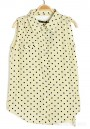 Beige Polka Dot Epaulet Irregular Lapel Sleeveless Blouse