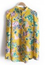 Yellow Flowers Print Irregular Band Collar Chiffon Blouse