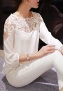 White Patchwork Lace Embroidery Three Quarter Length Sleeve Fashion Blouse
