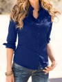 Navy Blue Plain Single Breasted Turndown Collar Long Sleeve Blouse
