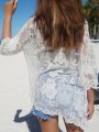 White Floral Lace Embroidery Grenadine See-through Cover Up Sexy Beach Kimono