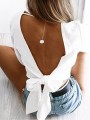 White Midriff Cut Out Bow V-neck Casual Blouse