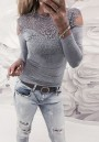 Grey Patchwork Lace Cut Out Round Neck Fashion Blouse