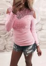 Pink Patchwork Lace Cut Out Round Neck Fashion Blouse