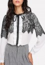 White Patchwork Lace Ruffle Lace-up Sweet Office Worker/Daily Blouse