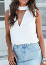 White Cut Out V-neck Going out Casual Blouse