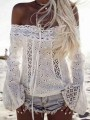 White Patchwork Cut Out Lace Boat Neck Fashion Blouse