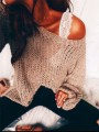Khaki Asymmetric Shoulder Bell Sleeve Cut Out Casual Slouchy Homecoming Party Pullover