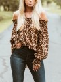 Brown Leopard Print Pleated Wavy Edge Off Shoulder Backless Long Sleeve Fashion Vintage Casual Blouse