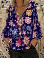Blue Floral Print V-neck Long Sleeve Casual Sweet Blouse