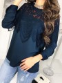 Blue Lace Cut Out Round Neck Long Sleeve Going out Blouse