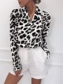 White Leopard Buttons Turndown Collar Going out Casual Blouse