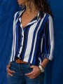 Blue Striped Single Breasted Irregular Turndown Collar Long Sleeve Casual Blouse