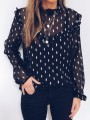 Black Leaves Print Ruffle High Neck Long Sleeve Sweet Blouse