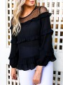 Black Patchwork Lace Ruffle Round Neck Long Sleeve Sweet Blouse
